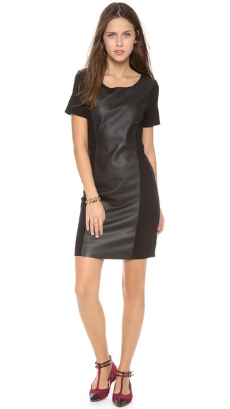 Velvet Ponte Dress with Leather