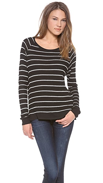 Velvet Becky Striped Thermal Sweater