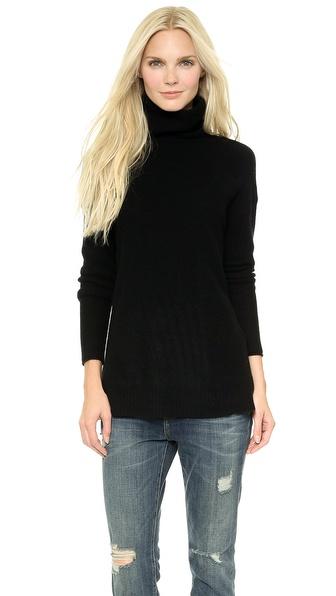 Velvet Cashmere Turtleneck Sweater