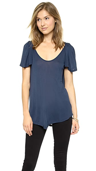 Velvet Pleat Shoulder Tee