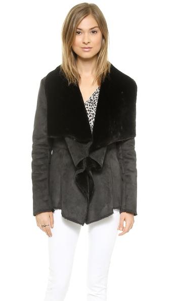 Velvet Sherpa Jacket - Black/Black