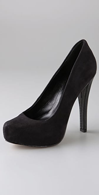 Velvet Angels Sin Sin Suede Pumps on Hidden Platform
