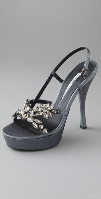 Vera Wang Susie Platform Sandals with Rhinestones