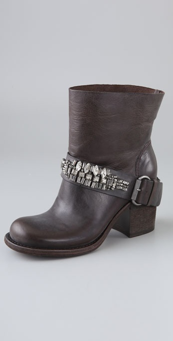 Vera Wang Casey 2 Booties with Rhinestone Strap