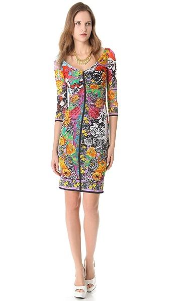 Versace Vintage Print Ruched Dress