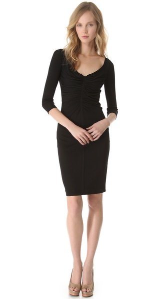 Versace 3/4 Sleeve Ruched Dress
