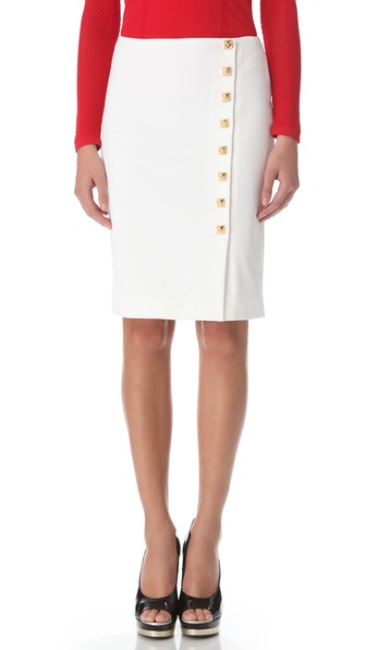 Versace Gold Button Pencil Skirt