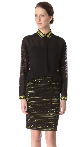 Versace Burnout Long Sleeve Blouse with Printed Collar and Cuff
