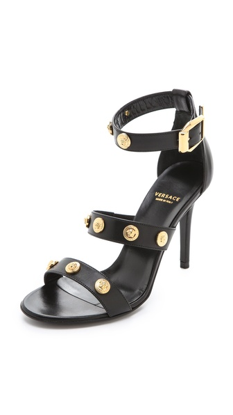 Versace Black Heeled Sandals