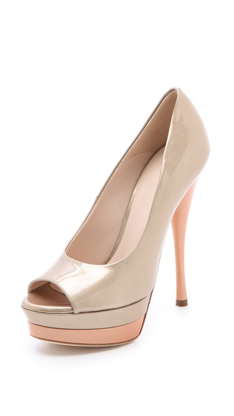 Versace Peep Toe Platform Pumps