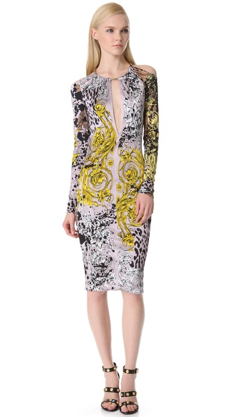 Versace Long Sleeve Key Hole Dress