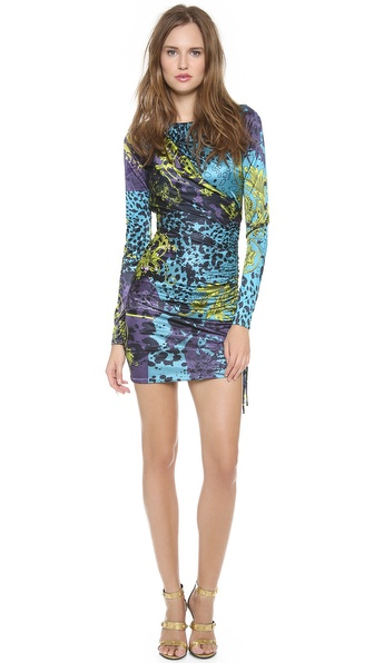 Versace Long Sleeve Printed Dress
