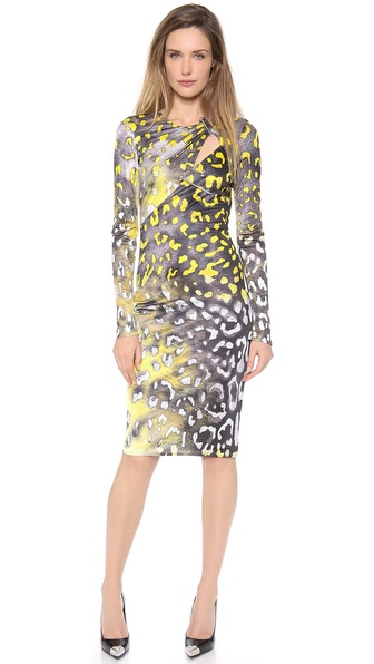 Versace Long Sleeve Slash Dress