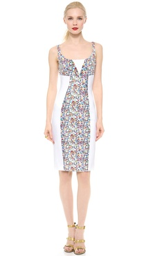 Versace Floral Panel Sheath Dress