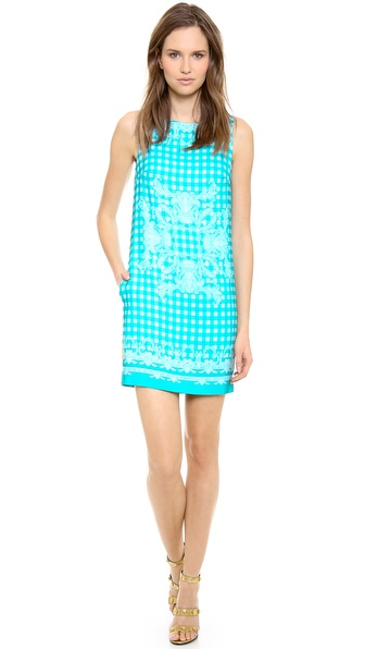 Versace Sleeveless Gingham Paisley Dress
