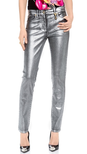 Versace Shiny Coated Skinny Jeans