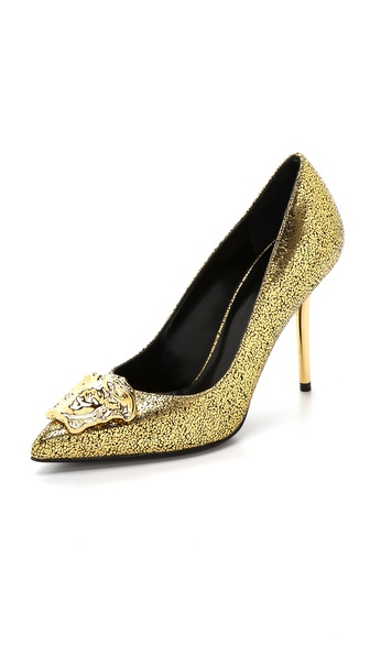 Versace Gold Medusa Pumps