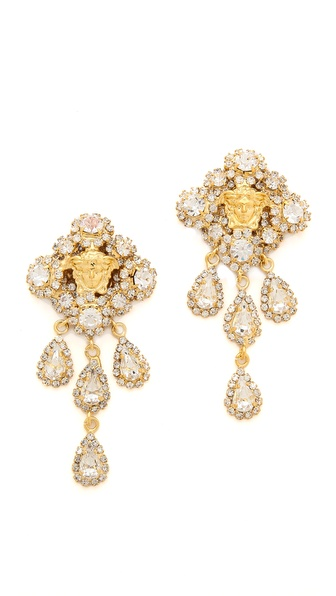 Versace Crystal Encrusted Drop Earrings