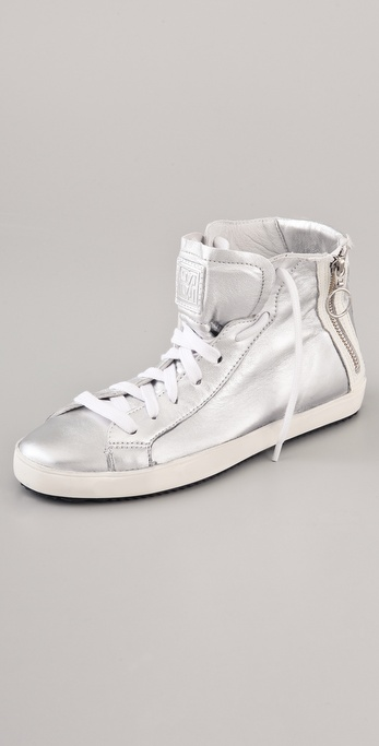 Pour La Victoire Narissa High Top Metallic Sneakers