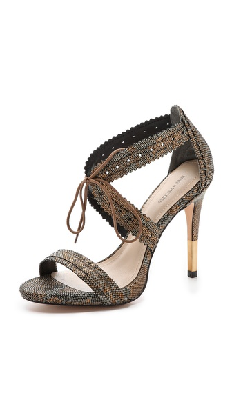 Pour La Victoire Shanna Metallic Lace Up Sandals