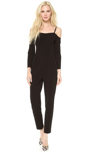 Vika Gazinskaya Decolette Shoulder Strap Jumpsuit - Black