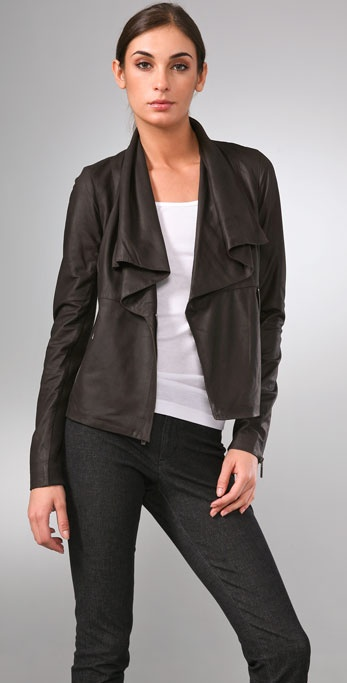 Vince Paper Leather Jacket with Draped Lapel