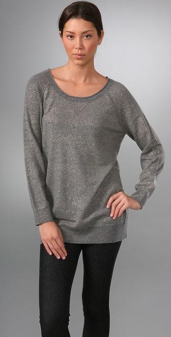 Vince Foil Print Cashmere Raglan Sweatshirt