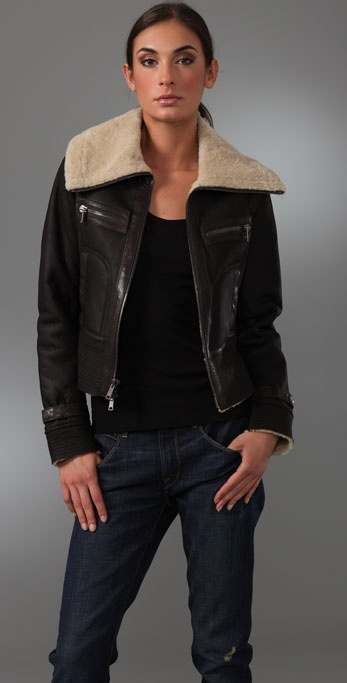 Vince Leather Aviator Jacket