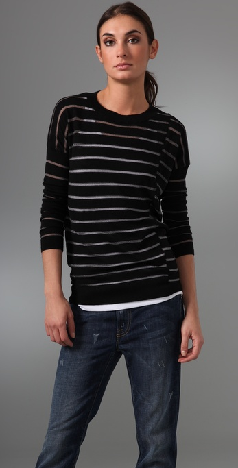 Vince Chalk Stripe Crew Sweater