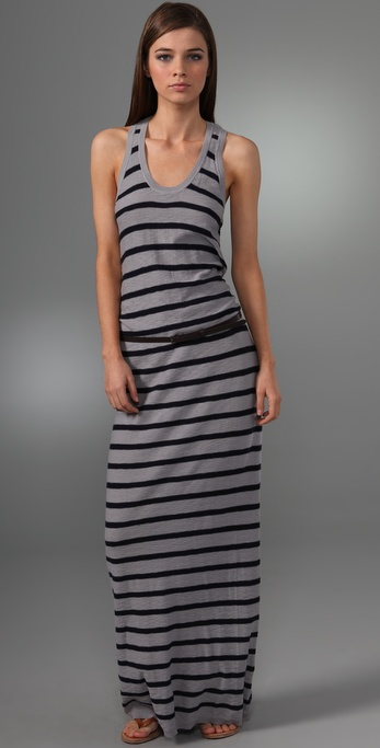 Vince Striped Belted Long Dress