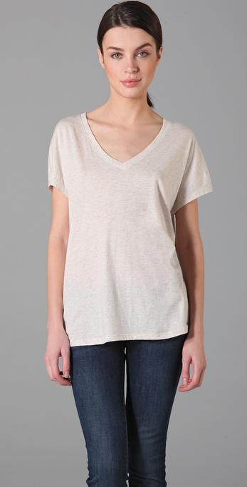Vince Heathered V Neck Tee
