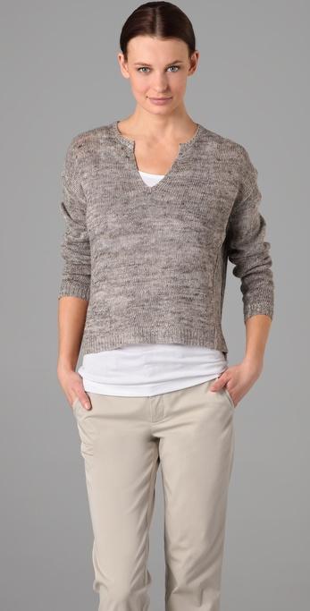 Vince Split Neck Cropped Sweater
