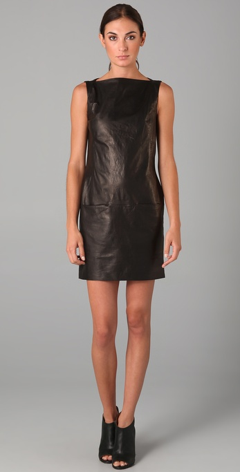 Vince Leather Boat Neck Dress