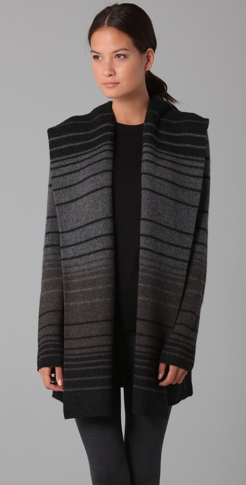 Vince Sophie Striped Sweater Coat