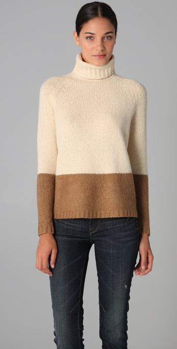 Vince Colorblock Turtleneck Sweater