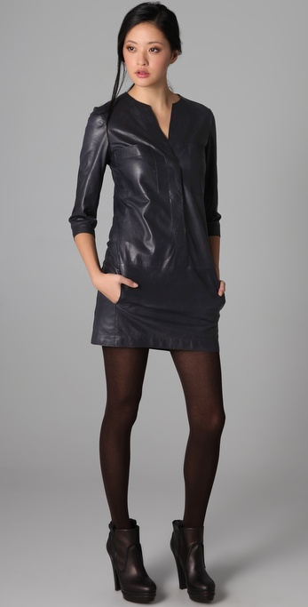Vince Leather Shirtdress