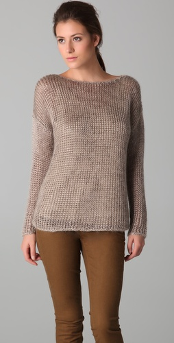 Vince Fuzzy Metallic Wide Neck Sweater