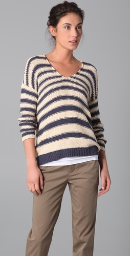 Vince Double V Striped Sweater