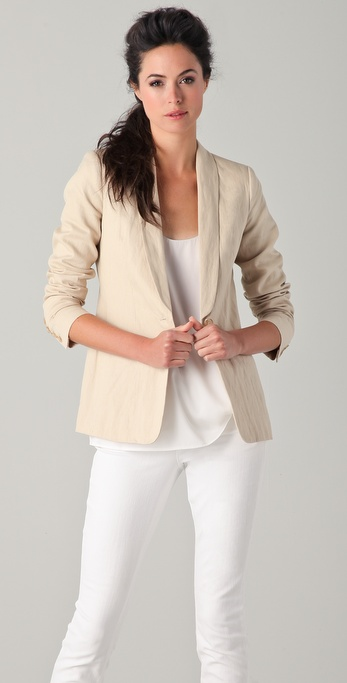 Vince Single Button Linen Blazer