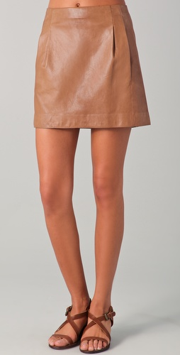 Vince Leather Miniskirt