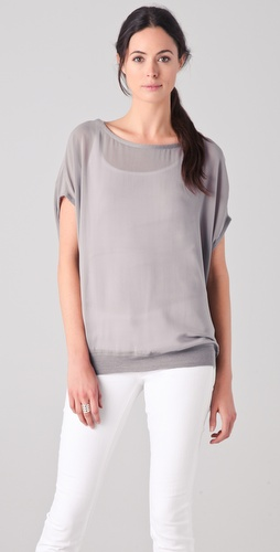 Vince Chiffon Tee with Cashmere Trim