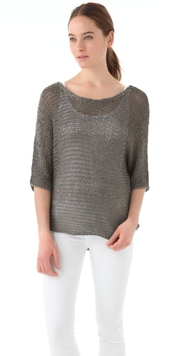 Vince Metallic Shirttail Top