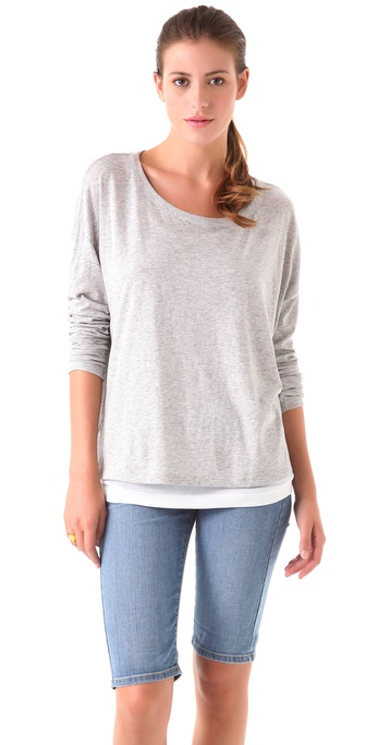Vince Side Slit Long Sleeve Tee