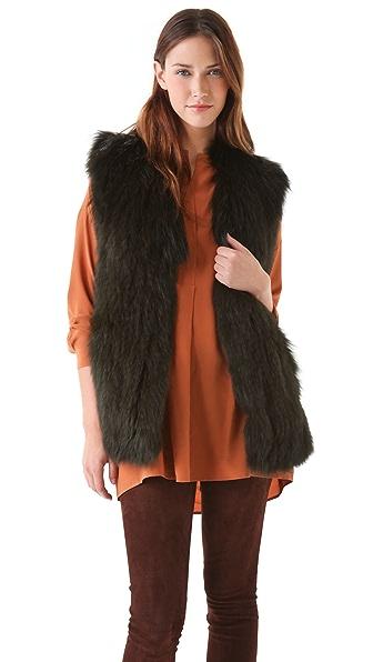 Vince Overdyed Fox Fur Vest