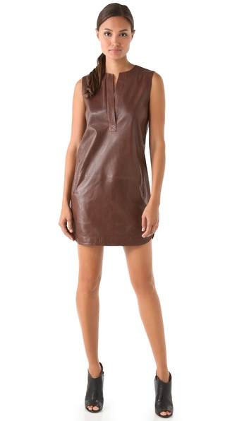 Vince Leather Shirttail Dress