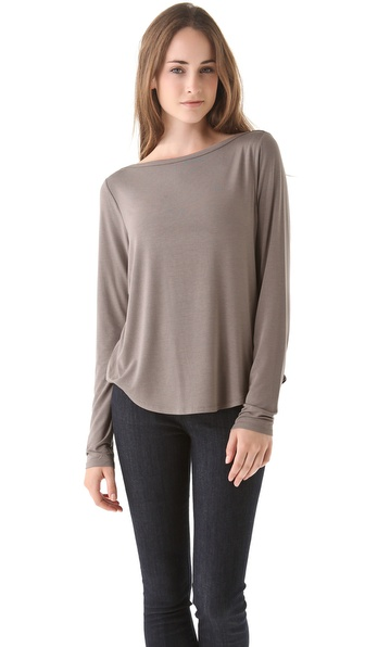 Vince Shirttail Boat Neck Tee
