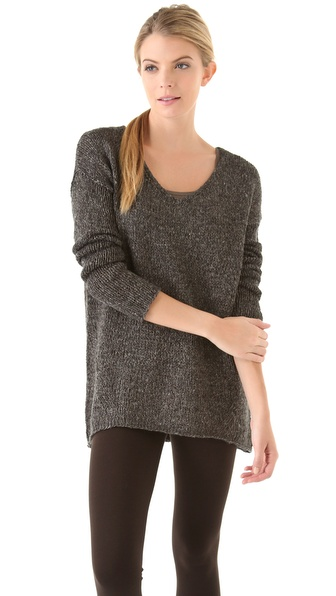 Vince Wide V Marled Metallic Sweater