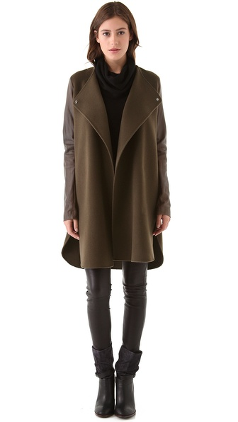 Vince Shirttail Coat with Leather Sleeves