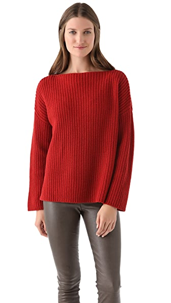 Vince Ribbed Boat Neck Sweater