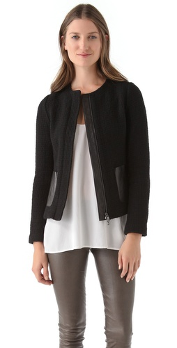 Shop Vince Basket Weave Jacket with Leather Trim and Vince online - Apparel,Womens,Jackets,Non_Blazer, online Store